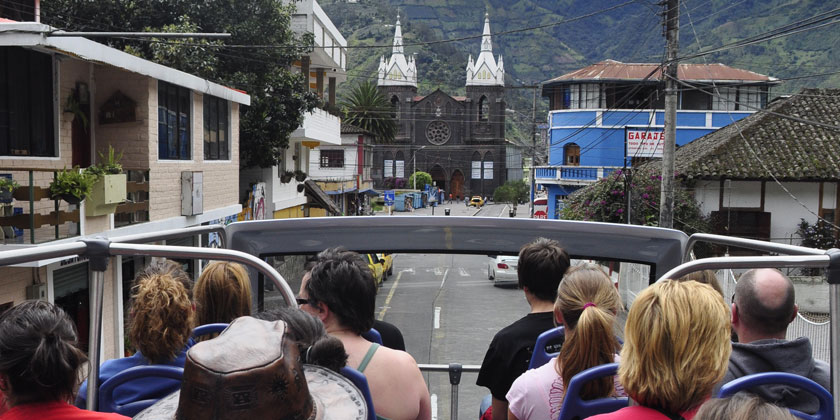Our chiva bus tours starts everyday at 10h30 and 15h30 in the center of Baños Ecuador