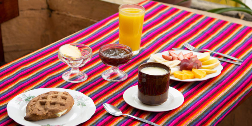 Breakfast is included in our adventure package, and is served in our coffee restaurant in Baños Ecuador