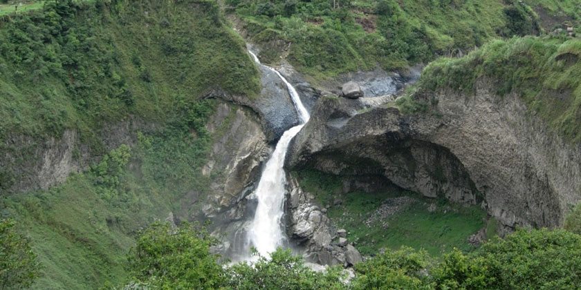 Agoyan Waterfall is the first waterfall you will find during the Chiva Bus Tour in Baños Ecuador