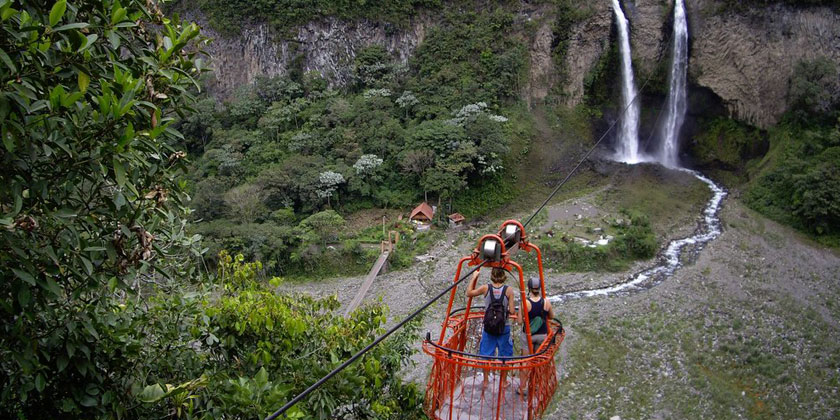 Our biking tours in Baños Ecuador goes through the waterfall trail, is a path that takes about 22kms