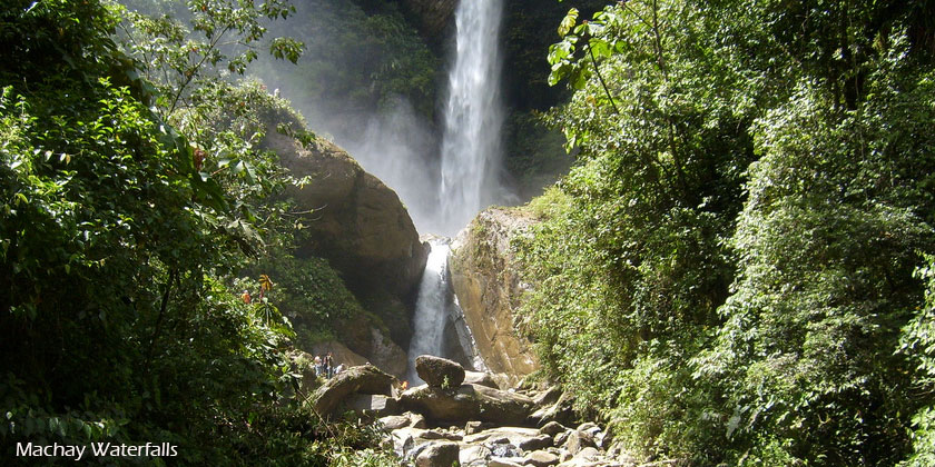 Machay Waterfalls is the last spot in our biking tours through the waterfalls trail